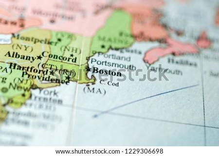 Boston On Usa Map.Boston Usa On Geography Map Stock Photo Edit Now 1229306698