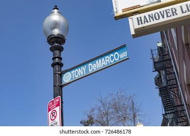 BOSTON, USA - SEP 12, 2017: street sign Tony de Marco Way   in Boston, Massachusetts
