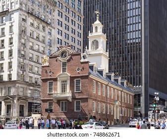 BOSTON, USA - SEP 12, 2017:  Old State House, It served not only as the State House for the seat of government in Massachusetts, but was later also City Hall for Boston.