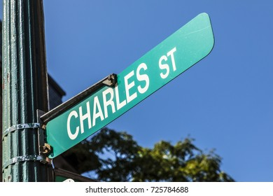 BOSTON, USA - SEP 13, 2017: street sign Charles street in downtown Boston, USA street in downtown Boston, USA