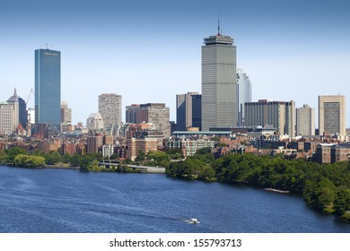 BOSTON, USA - SEPTEMBER 16: Aerial view of Boston showing its architecture as a mix of historic buildings and modern construction on September 16, 2013 in Massachusetts, USA.