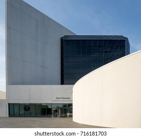 BOSTON, USA - SEPTEMBER 4: The contemporary architecture of the JFK Library and Museum in Boston, Massachusetts, USA on a sunny day on September 4, 2017.