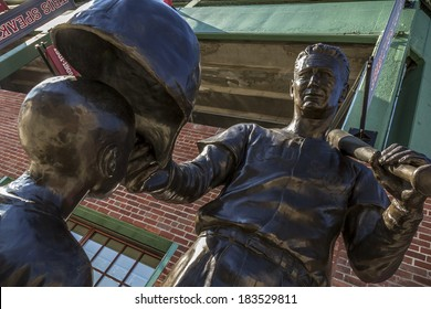 BOSTON, USA - SEPTEMBER 7: View of the famous statue of Ted Williams placed in front of the Fenway Park Stadium in Boston, Massachusetts, USA on September 7, 2013.