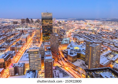 Boston view from top of Prudential Tower after snowstrorms at dusk