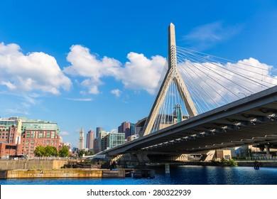 Boston Zakim bridge in Bunker Hill Massachusetts USA