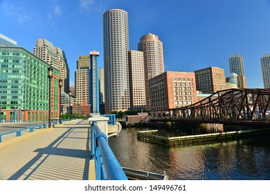 BOSTON,MA - JULY 4:The Boston Financial District on July 4th, 2013. It is located in the downtown area near Government Center and Chinatown. It contains the headquarters of many mutual fund companies.