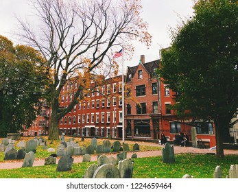 Boston,Massachusetts,United  States.October 30th,2018.The Old Granary Burying Ground in Massachusetts is Boston's third-oldest cemetery, located on Tremont Street.