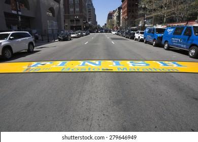 BOSTON,MASSACHUSETTS/USA-MAY 6: End line of Boston Marathon painted in street as on may 6 2015 in Boston, Massachusetts