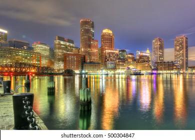 Boston's financial district as viewed from Fan Pier Park