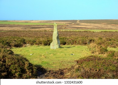 Boswens Menhir, Ancient Standing Stone, near Pendeen, Cornwall UK