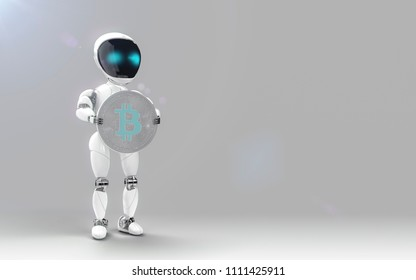 Bot holding bitcoin blue color investment