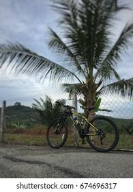 Bota, Perak, Malaysia. July 7, 2017 : A mountain bike with cocunut tree and blue sky backdrop in a relaxing ride heading to Bota, Perak, Malaysia