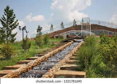 BOTAKARA. KAZAKHSTAN. 07 JUIY 2016 : Fountain at bus station in Botakara. Karaganda Oblast. Kazakhstan