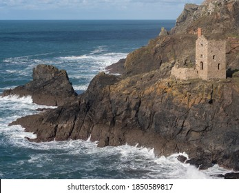 Botallack, Cornwall/UK-November 4,2020: Tin mine engine house at Botallack at foot of cliffs. Used in filming of Poldark tv series.World Heritage Site.