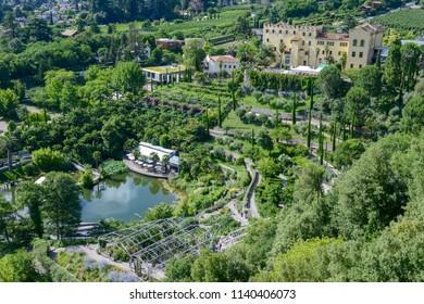 Botanic garden of Trauttmansdorff Castle at Meran on South Tyrol, Italy