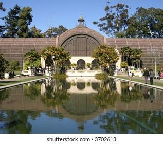 Botanical building and lily pond Balboa Park San Diego