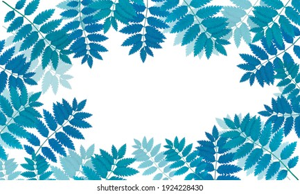 Botanical frame with branches. Frame of colorful leaves. The leaves are real, not painted. Free space for text in the center, white background. Abstract frame with multicolored leaves.