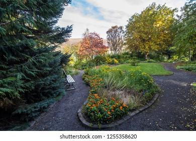 Botanical garden of Akureyri on sunny day, north iceland