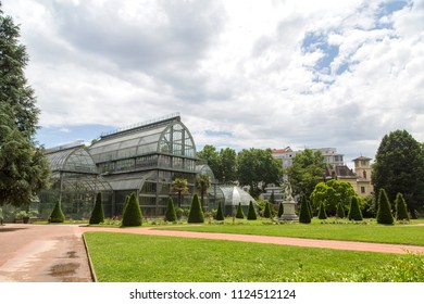 Botanical Garden in Lyon. Greenhouse in the park tete d'or of Lyon, France.