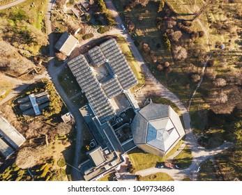 Botanical garden orangery drone aerial view in spring