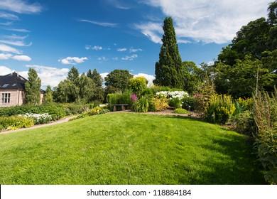 Botanical garden in Oslo Norway at summer