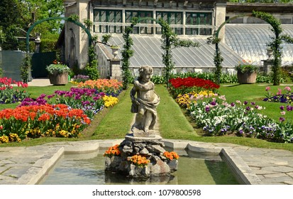 Botanical gardens at springtime in the Villa Pallavicino, a popular tourist attraction on Lake Maggiore in Stresa, Italy, Europe. April 2018