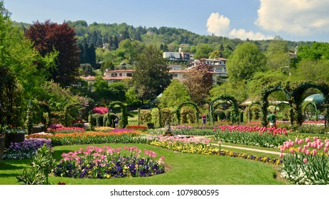 Botanical gardens in the Villa Pallavicino, a popular tourist attraction on Lake Maggiore in Stresa, Italy, Europe. April 2018