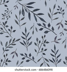 Botanical seamless pattern. Background with blue leaves