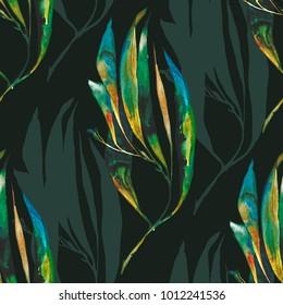 Botanical watercolor illustration pattern
