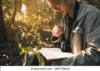 Botanists are taking note of the plants found in the tropical forests. Biologist researching in the forest. Botanist studying a newly flowering plant species.