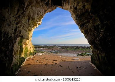 Botany bay, Broadstairs, Kent, England. April 10th 2011   A chalk cave off Botany Road and Foreness Close on the sandy shoreline of Botany Bay,  the northern most of seven bays in Broadstairs.