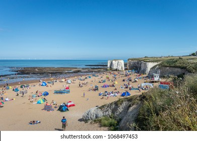 Botany Bay, Kent, United Kingdom - August 14, 2016 : Sunny weather brought tourists and visitors to Botany Bay Beach near Broadstairs Kent to enjoy the beach waves and summer sunshine.