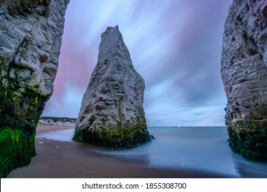 Botany Bay Thanet In Kent, England Before Sunrise With The Clouds Moving