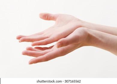 Both hands, woman