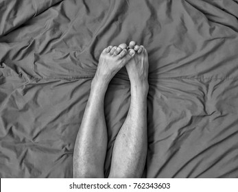 Both legs are twitched, jerky ,Muscle contraction. Have a relationship in bed .There is a feeling of excitement.
