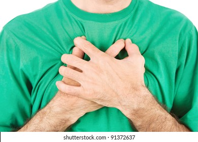 Both man's hands on breast because of hard breathing, horizontal, isolated on white