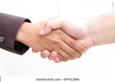 both men are agreed to do something or some business, white background
