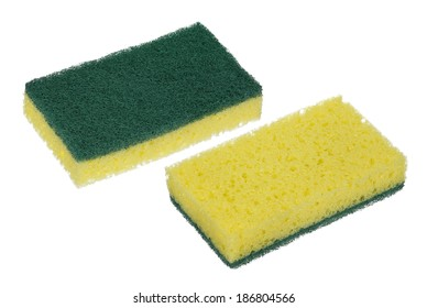 both sides of new kitchen sponge isolated