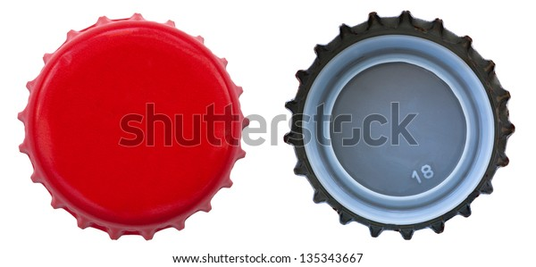 Both sides of a red metal bottle cap. One of the top side and one of the bottom side. Isolated on white background.