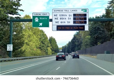 BOTHELL, WA - AUGUST 30, 2016: I-405 Express Toll Lanes help manage lane capacity in the Seattle/Puget Sound region by allowing single occupancy vehicles to purchase a spot in the HOV lane.