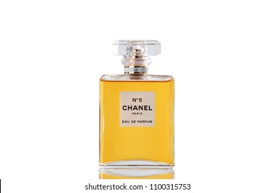 BOTHELL, WA- May 28, 2018: Chanel Number Perfume in glass bottle isolated on white background with reflection.