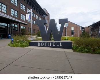 Bothell, WA USA - circa April 2021: View of the large W statue in the center of the University of Washington satellite campus.