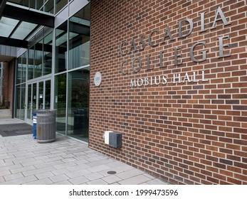 Bothell, WA USA - circa April 2021: Exterior view of Cascadia College's Mobius Hall education building at the University of Washington in Bothell.