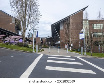 Bothell, WA USA - circa April 2021: View of the large University of Washington Bothell satellite campus on a calm day.