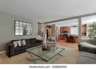 Bothell, WA / USA - March 6, 2018: Modern living room and kitchen interior