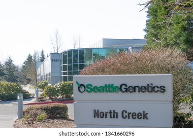 Bothell, WA / USA - March 9, 2019: Seattle Genetics develops drug therapies to improve outcomes for cancer patients.