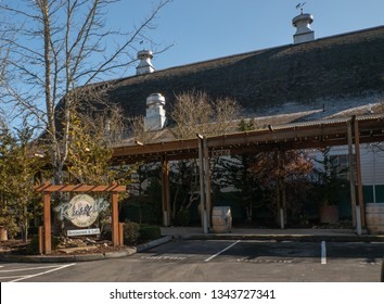 Bothell, WA / USA - March 9, 2019: Russell's Restaurant is housed in a renovated dairy barn and provides a fine dining experience with local wines.