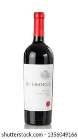 BOTHELL, WA/USA- April 01, 2019: Bottle of Saint Francis merlot red wine isolated on white background with reflection