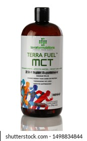 BOTHELL, WA/USA- September 08, 2019: Terra Fuel MCT logo on plastic bottle isolated on white background with reflection