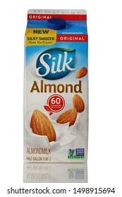 BOTHELL, WA/USA- September 08, 2019: Silk Almond milk logo on carton isolated on white background with reflection